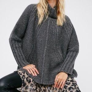 Free People | High Neck Wool Blend Poncho SZ XS/S